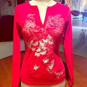 Cache red long sleeve shirt with silver design